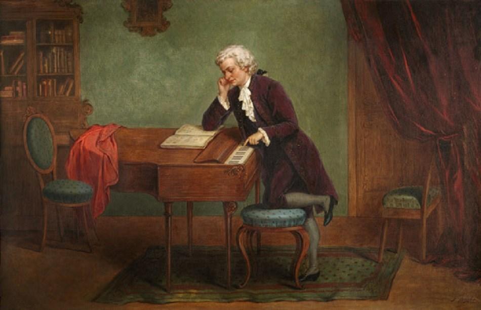 Josef Büche (1848-1917), Mozart composant, vers 1880.