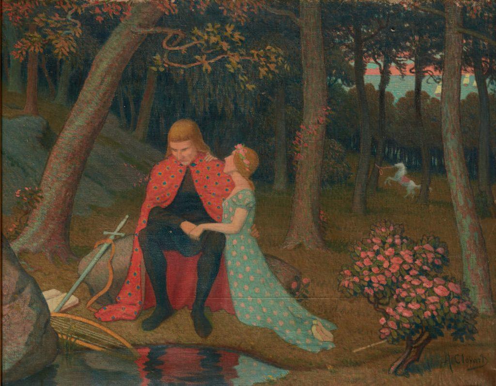 Albert Clouard (1866-1952), Merlin et Viviane, huile sur toile, collection privée.