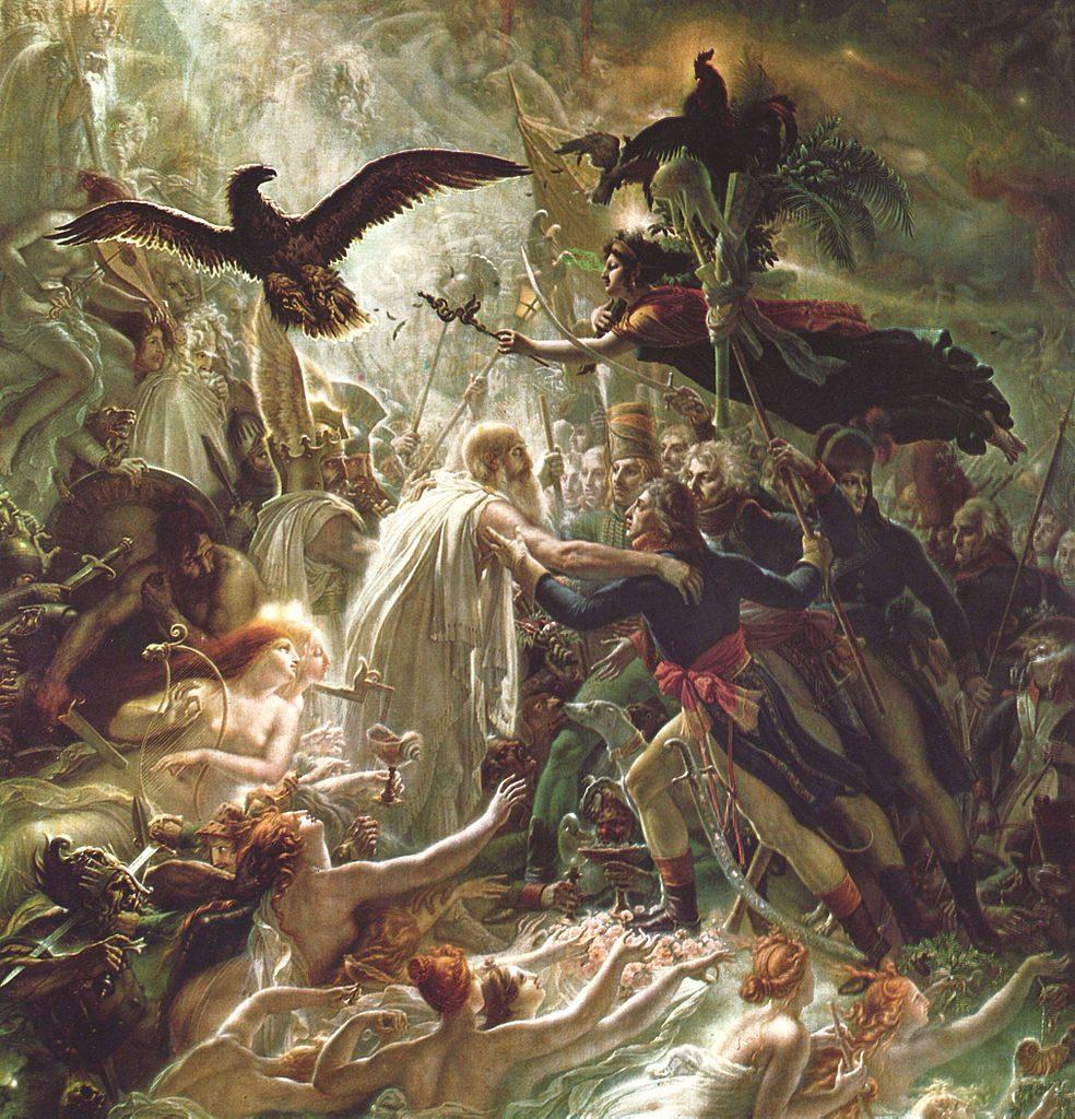 Anne-Louis Girodet de Roussy-Trioson (1767-1824), Apothéose des héros français morts pour la patrie pendant la guerre de la liberté, vers 1800, huile sur toile, château de Malmaison.