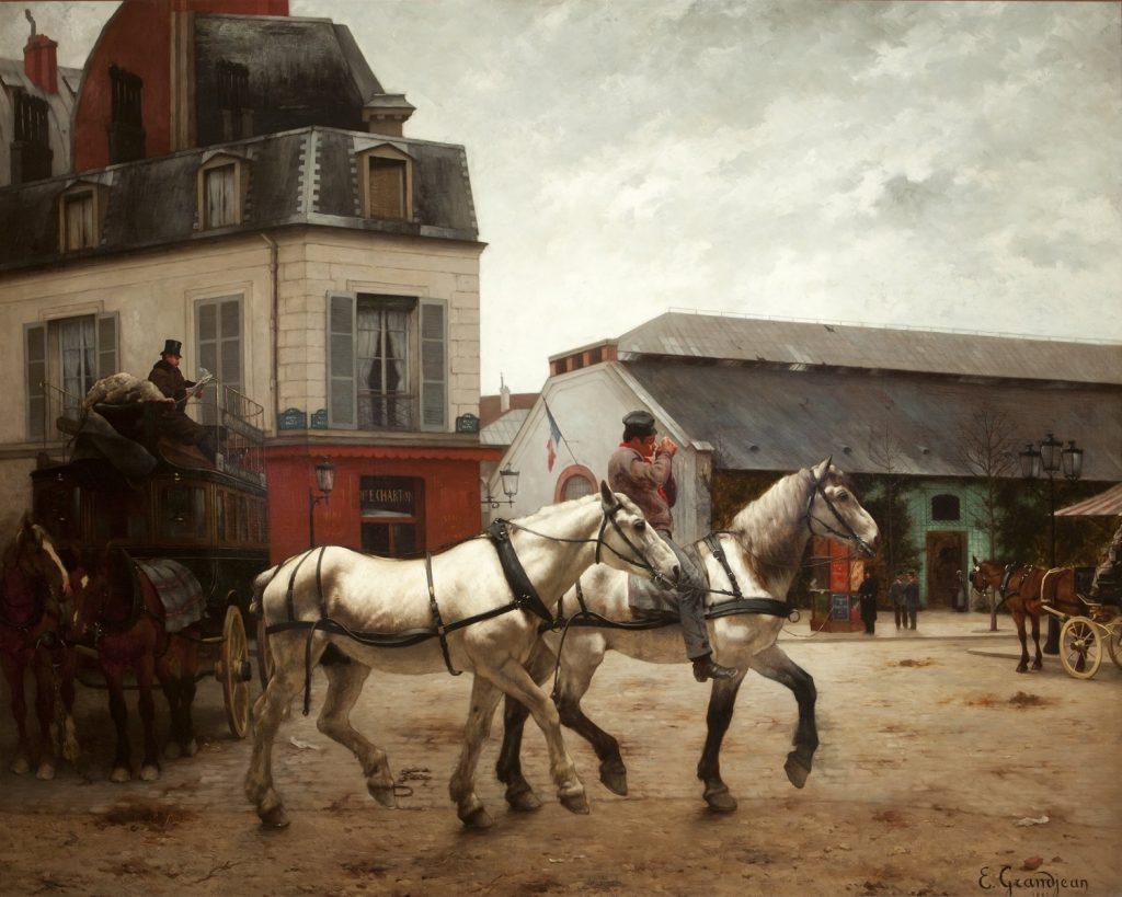 Edmond Grandjean (1844-1908), Un arrêt de voitures place Clichy, 1882, huile sur toile,Dixon Gallery and Garden.