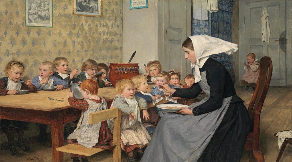 Albert Anker (1831-1910), La nurserie, 1890, huile sur toile, musée des Beaux-Arts de Winterthour.