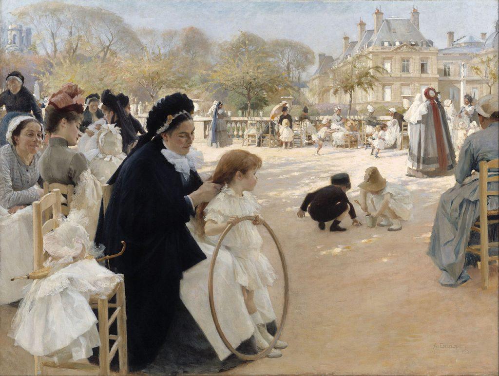 Albert Edelfelt (1854-1905), Les jardins du Luxembourg, Paris, 1887, huile sur toile, Ateneum.
