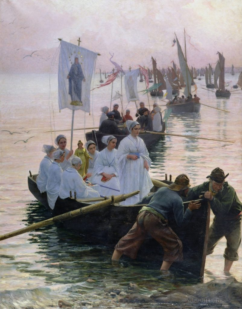 XMP61244 The Arrival of the Procession of St. Anne from Fouesnant to Concarneau, 1887 (oil on canvas) by Guillou, Alfred (1844-1926); 281x222 cm; Musee des Beaux-Arts, Quimper, France; (add.info.: l'arrivee du pardon de Sainte Anne de Fouesnant; arrivee;); Giraudon; French, out of copyright possible copyright restrictions apply, consult national copyright laws