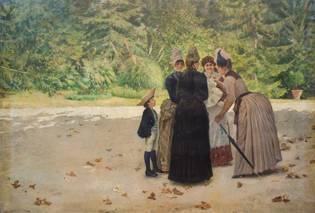Angiolo Tommasi (1858-1923), La visita alla balia (La visite à la nourrice), date inconnue, huile sur toile, collection privée.