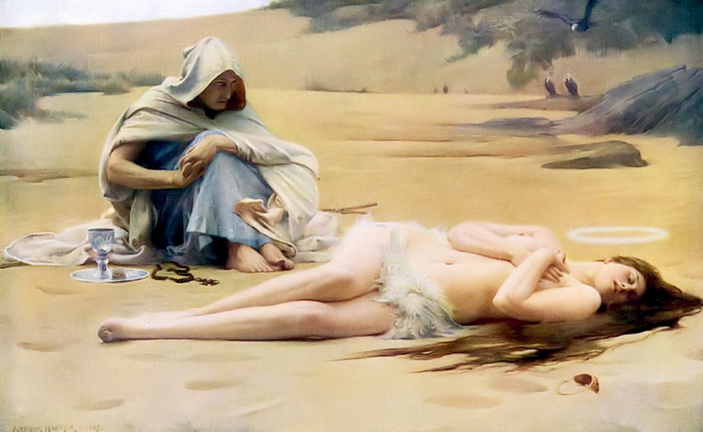 Arthur Hacker (1858–1919), Pelagia and Philammon, illustration tirée du roman Hypatia de Charles Kingsley, 1887, huile sur toile, Walker Art Gallery.