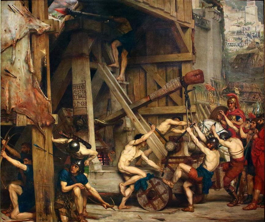 """Edward Poynter (1836–1919), La catapulte, 1868, huile sur toile, Laing Art Gallery. On peut apercevoir gravé dans le bois de la catapulte la fameuse phrase de Caton l'Ancien """"Delenda est Carthago"""".Capture"""