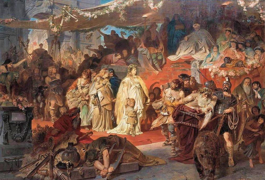 Karl von Piloty (1826–1886), Thusnelda au triomphe de Germanicus, 1873, huile sur toile, Neue Pinakothek.