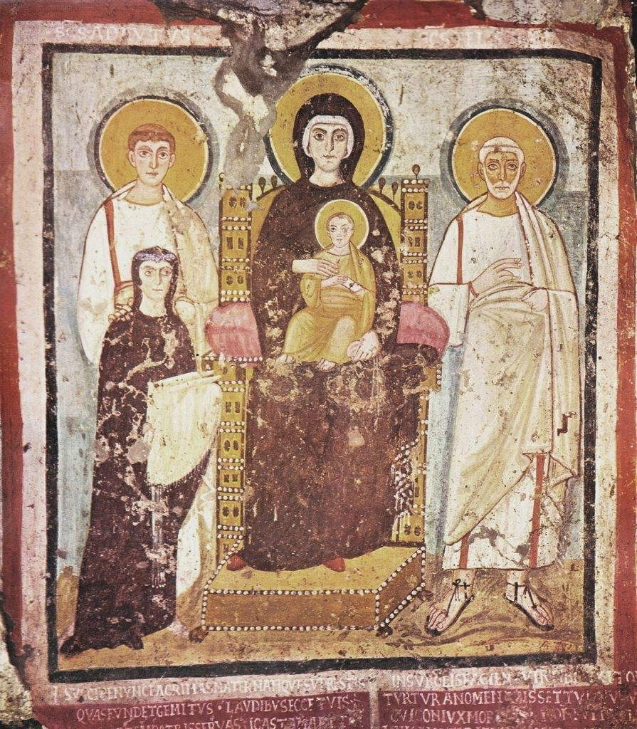 Vierge Nikopoia (qui porte la victoire) entourée de Saints, 528, catacombes de Commodille.