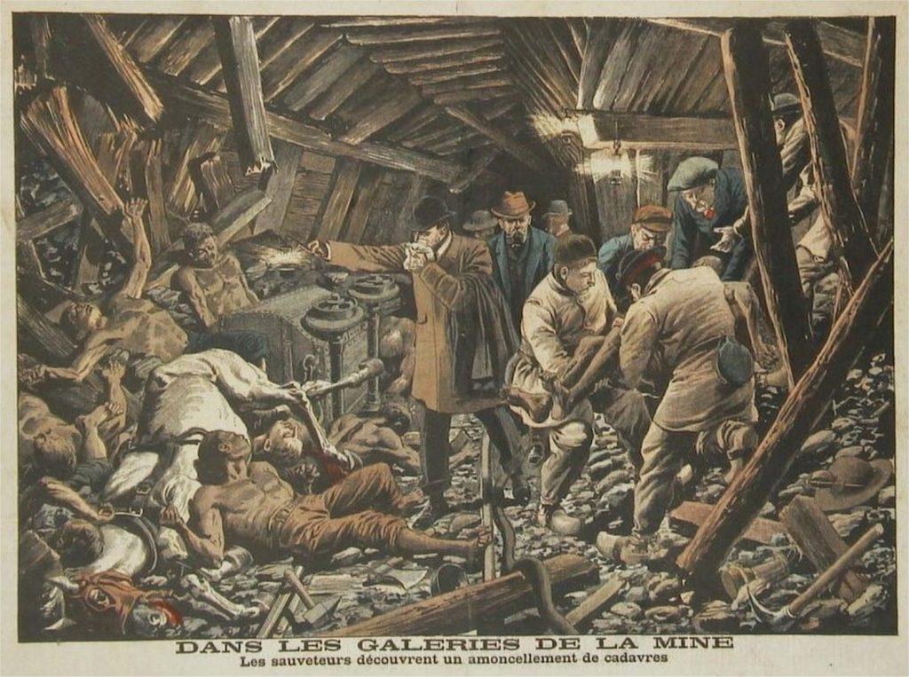 Illustration d'époque représentant la découverte de cadavres dans les galeries de la mine.