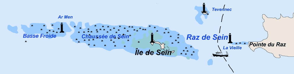 Carte du raz de Sein et de ses phares.