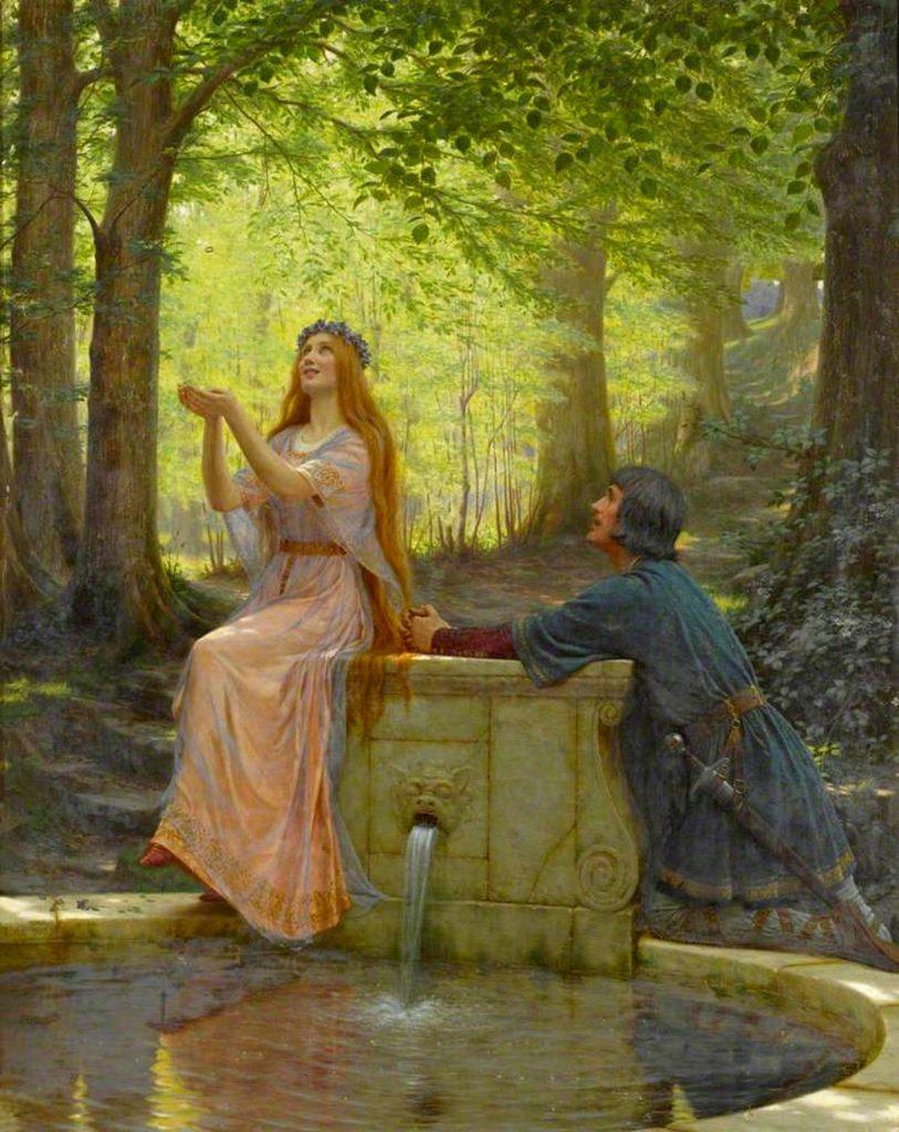 Edmund Blair Leighton (1852–1922), Pelléas et Mélisande, 1910, huile sur toile, Williamson Art Gallery & Museum.