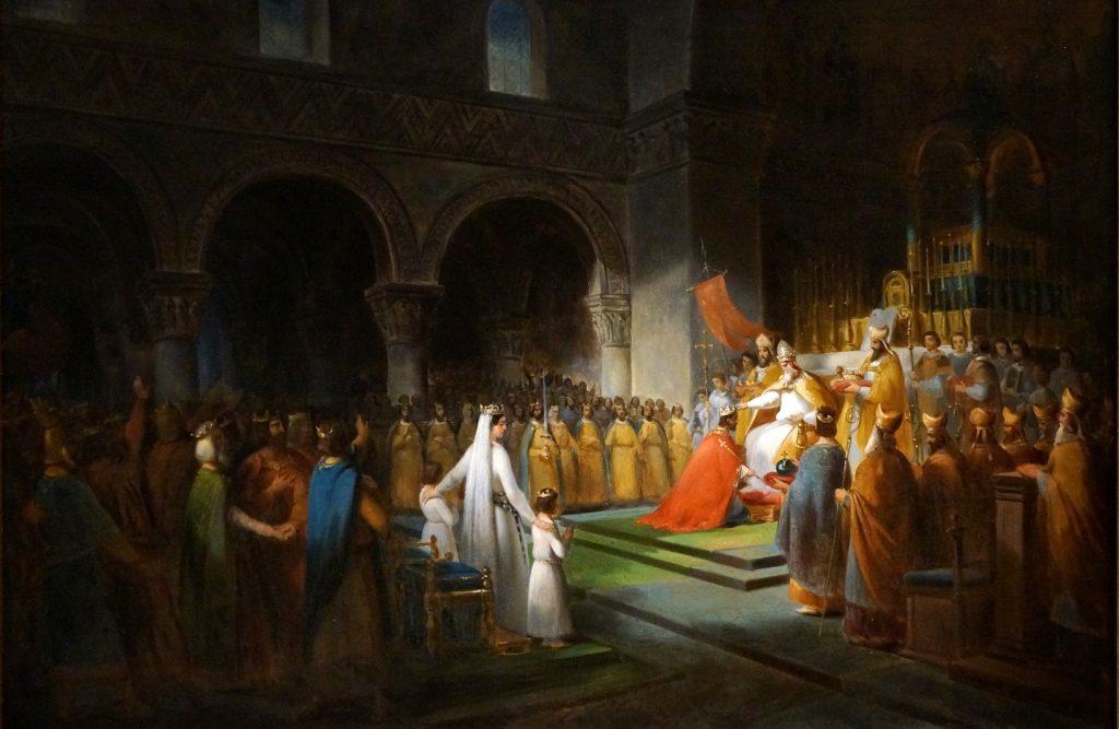 François Dubois, Sacre de Pépin le Bref par le pape Etienne II à Saint-Denis, le 28 juillet 754, 1837, huile sur toile, musée du château de Versailles.