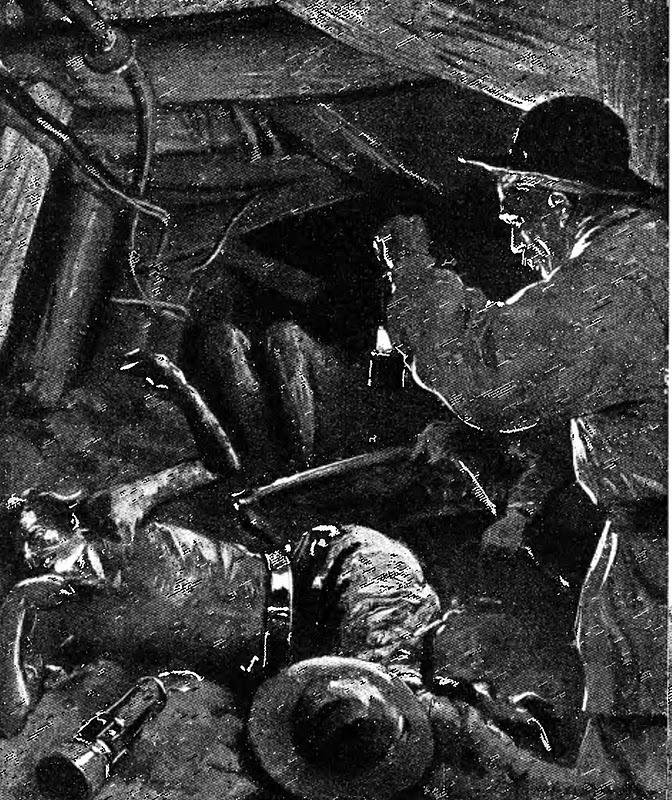 Illustration d'époque représentant le désastre au sein de la mine.