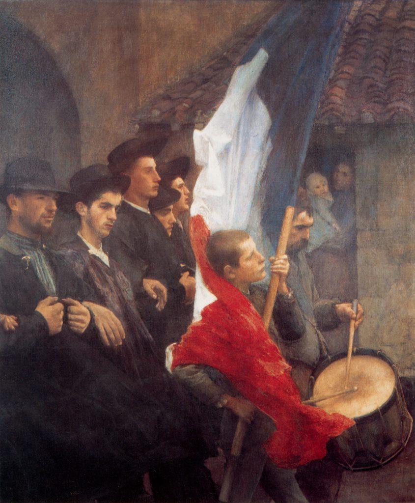 Pascal Dagnan-Bouveret (1852-1929), Les conscrits, 1889, huile sur toile, collection privée.
