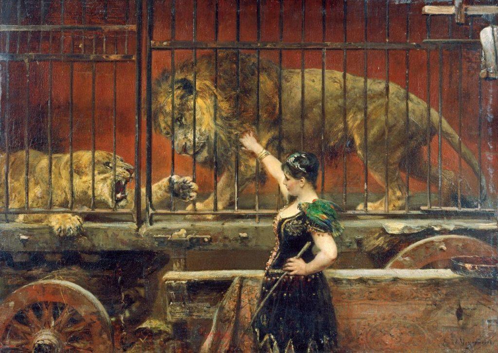 Paul Friedrich Meyerheim (1842-1915), Die eifersüchtige Löwin, 1885, huile sur toile, collection privée.