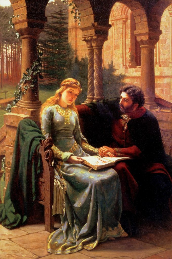 Edmund Leighton (1852–1922), Abélard et son élève Héloïse, 1882, huile sur toile.