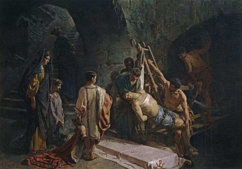 Alejandro Ferrant y Fischermans (1843–1917), L'enterrement de Saint Sébastien, 1877, huile sur toile, musée du Prado.