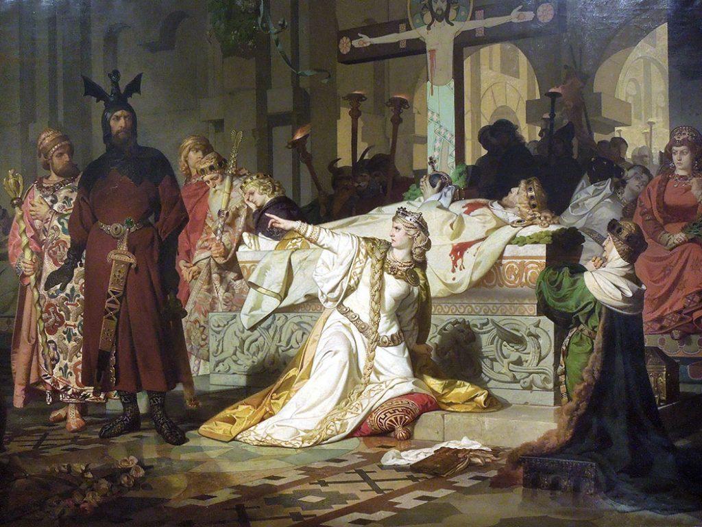 Emil Lauffer (1837-1909), Kriemhild's Complaint,1879, huile sur toile, collection privée.
