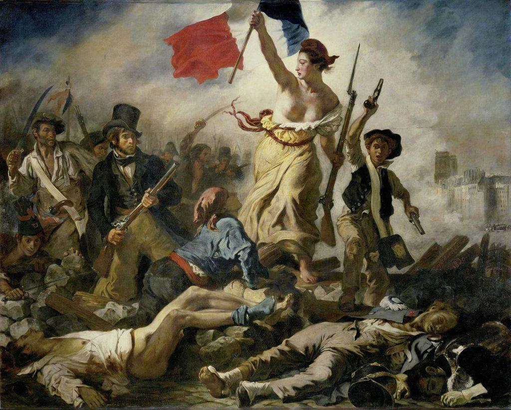 Eugène Delacroix (1798-1863), La liberté guidant le peuple, 1830, huile sur toile, musée du Louvre. Représentation des Trois Glorieuses.