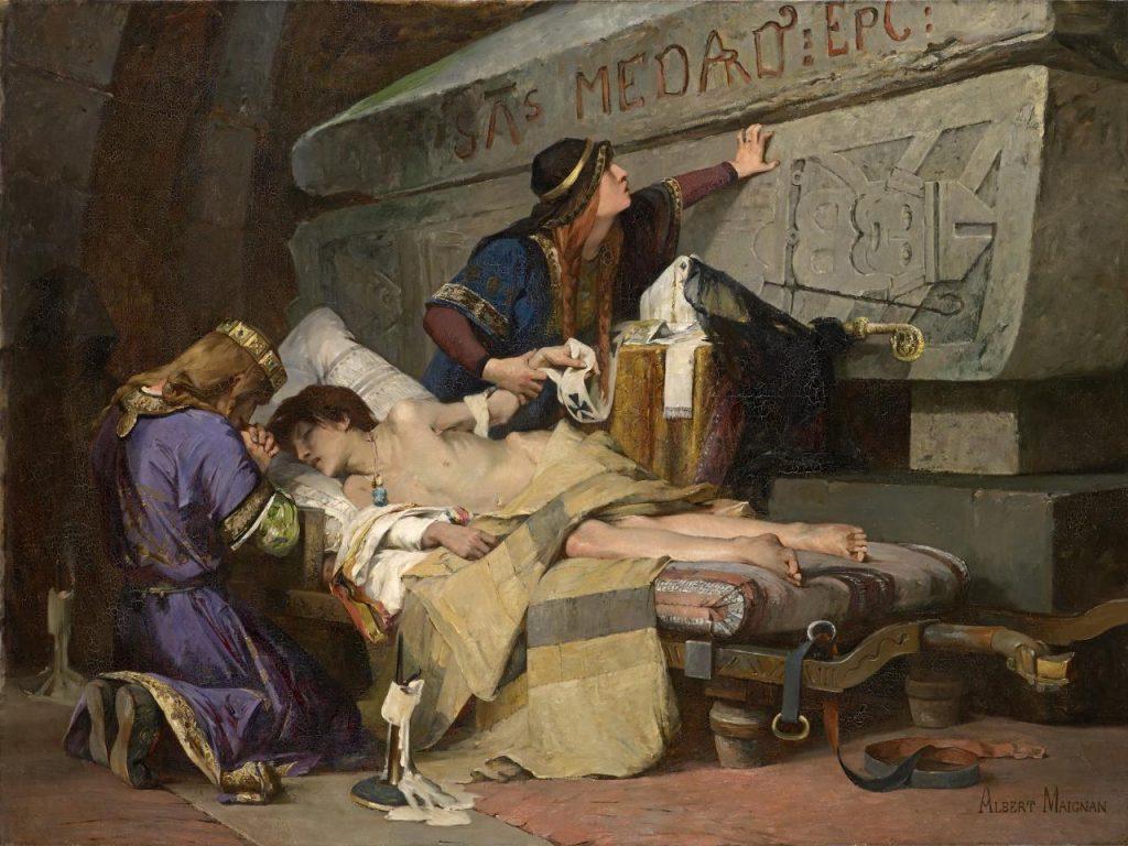Albert Maignan (1845-1908), Les derniers moments de Chlodobert (fils de Frédégonde), 1880, huile sur toile,National Gallery of Victoria.