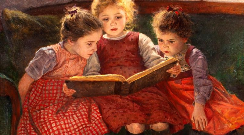 Firle, Walter (1859-1929, German) three-reading-girls-the-fairytale2