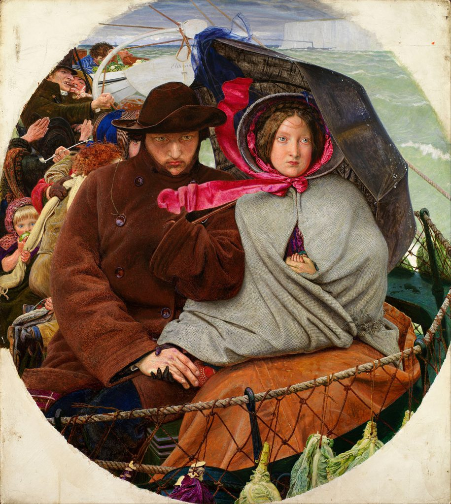 Ford Madox Brown (1821–1893), The Last of England (Adieu à l'Angleterre), 1852-1855, huile sur panneau, Birmingham Museum and Art Gallery.