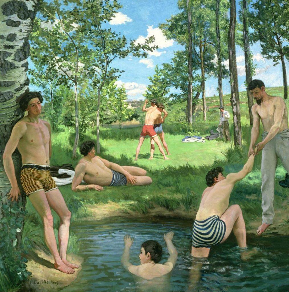 Frédéric Bazille (1841–1870), Scène d'été ou Les Baigneurs, 1869, huile sur toile, Fogg Museum.