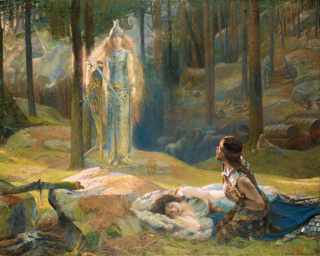 Gaston Bussière (1862-1928), La Révélation, Brünnhilde découvrant Siegmund et Sieglinde, 1894, huile sur toile, Musée Thomas-Henry