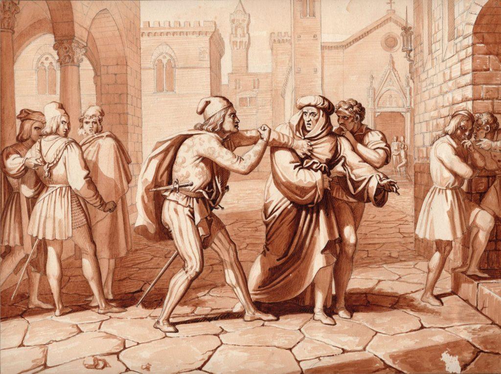 Luigi Garibbo (1782-1869), Giano della Bella insultato dal Frescobaldi, lavis d'encre sur papier, Galerie La Nouvelle Athènes.