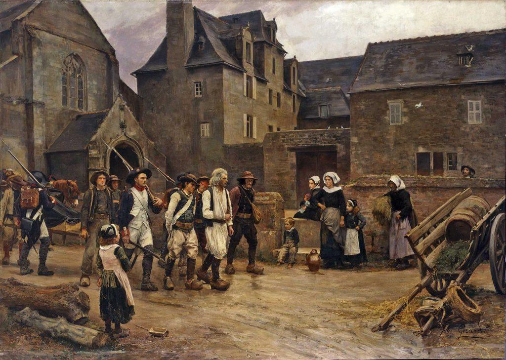 Jules Girardet (1856-1938), Les Révoltés de Fouesnant ramenés à Quimper par la Garde nationale en 1792, 1886-87, huile sur toile, musée des beaux-arts de Quimper.