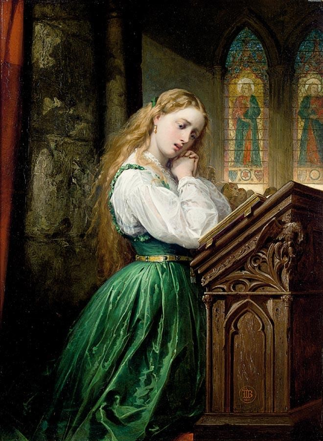 Thomas Jones Barker (1815–1882) , Margaret at the cathedral, Faust , 1866, huile sur toile, collection privée.