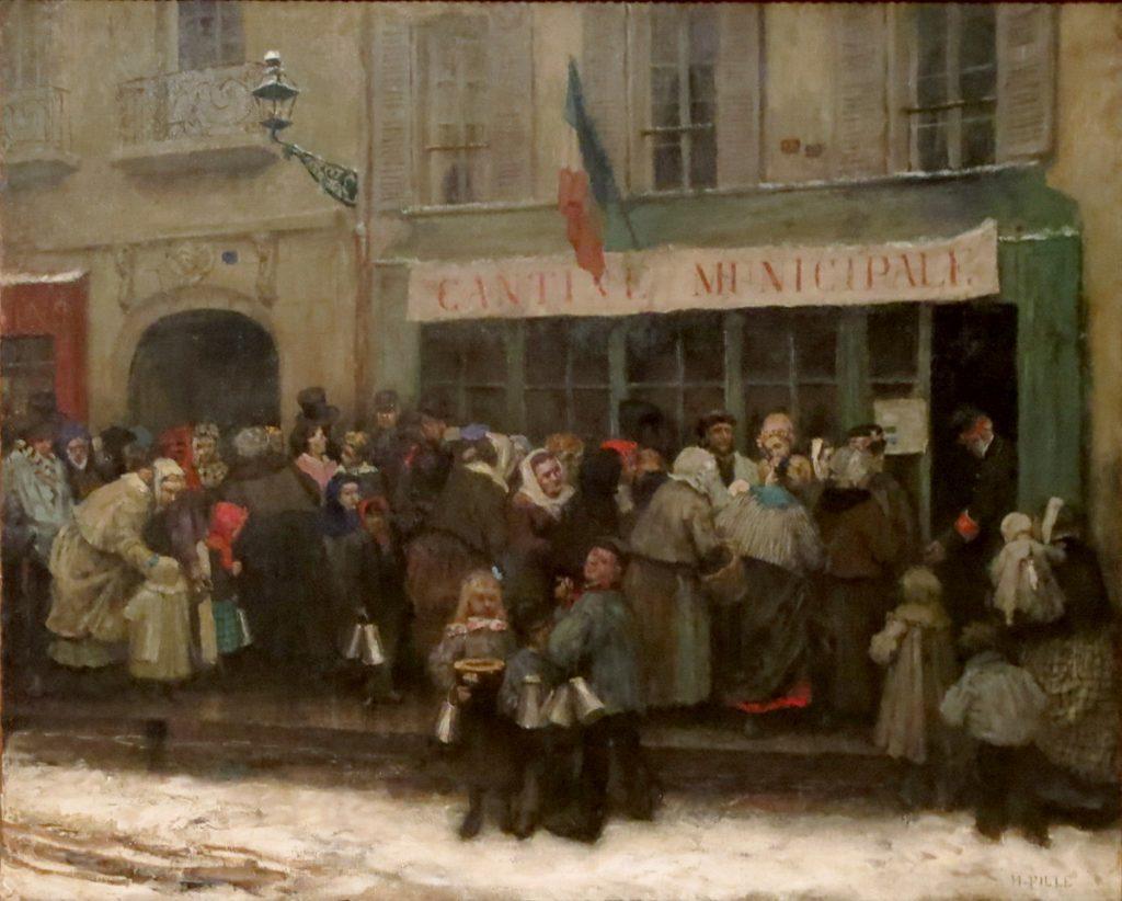 Henri Pille (1844-1897), Cantine municipale pendant le siège de Paris (1870-1871), 1875, huile sur toile, musée Carnavalet.