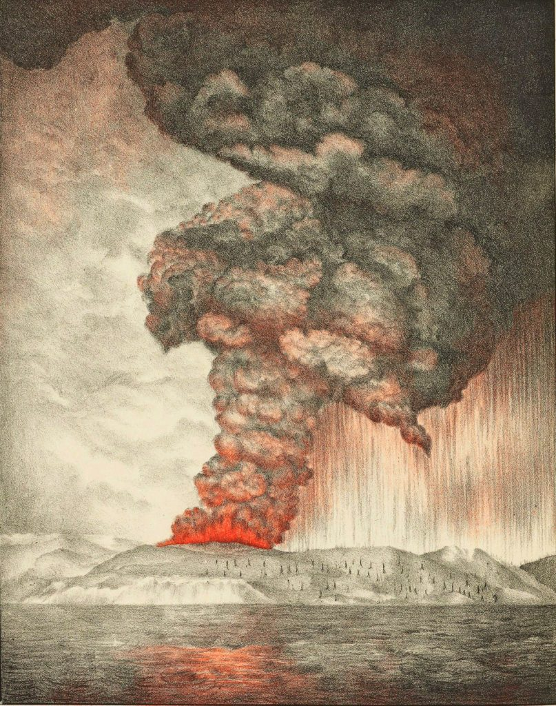 Lithographie représentant l'éruption du Krakatoa et datant de 1888. Publiée dans The eruption of Krakatoa, and subsequent phenomena. Report of the Krakatoa Committee of the Royal Society.