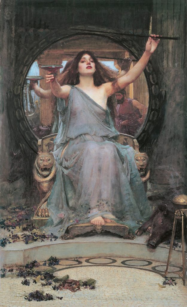 John William Waterhouse (1849–1917), Circé offrant la coupe à Ulysse, 1891, huile sur toile, Gallery Oldham.