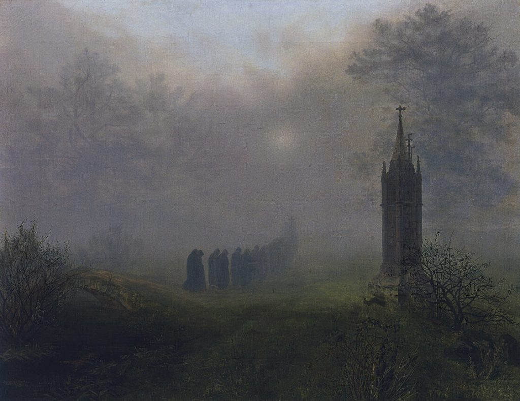 Ernst Ferdinand Oehme (1797-1855) , Procession dans la brume, 1828, huile sur toile, Galerie Neue Meister.