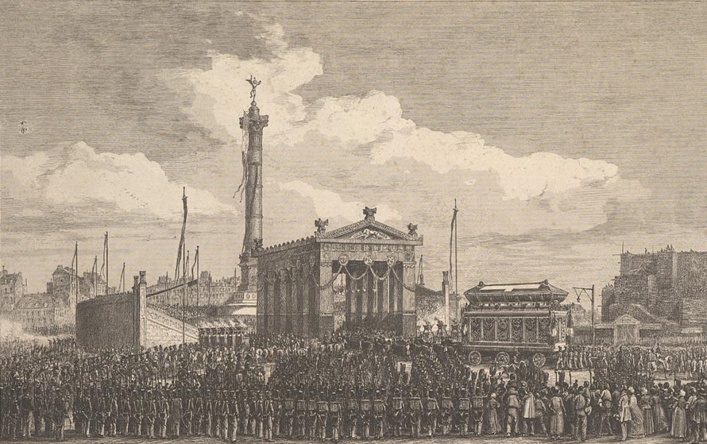 Charles-François Daubigny (1817–1878), Cérémonie de l'inauguration de la colonne de juillet, 1840. Esquisse. Metropolitan Museum of Art.