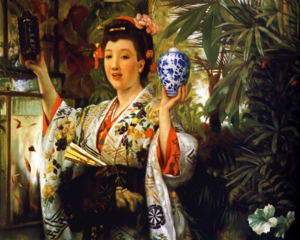 James Tissot (1836-1902), Le vase japonais, vers 1870, huile sur toile, collection privée.