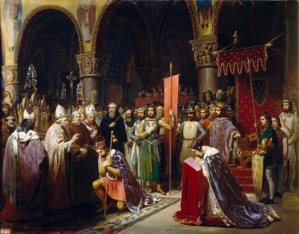 Jean-Baptiste Mauzaisse (1784-1844), Le roi Louis VII prend l'oriflamme à Saint-Denis, 1147, huile sur toile, 1840, musée national du château de Versailles.