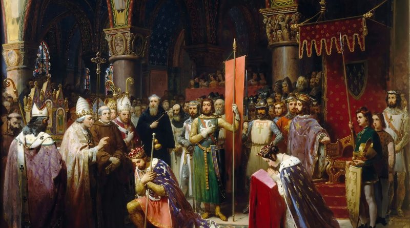 Jean-Baptiste Mauzaisse - Louis VII takes the standard at Saint-Denis, 1147