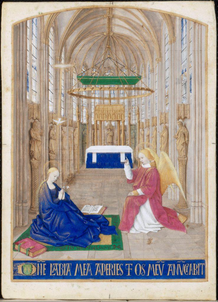 Jean Fouquet (1420–1481), L'Annonciation, miniature tirée des Heures d'Étienne Chevalier. Office du Saint-Esprit, matines. Représentation de l'intérieur de la Sainte-Chapelle de Bourges.
