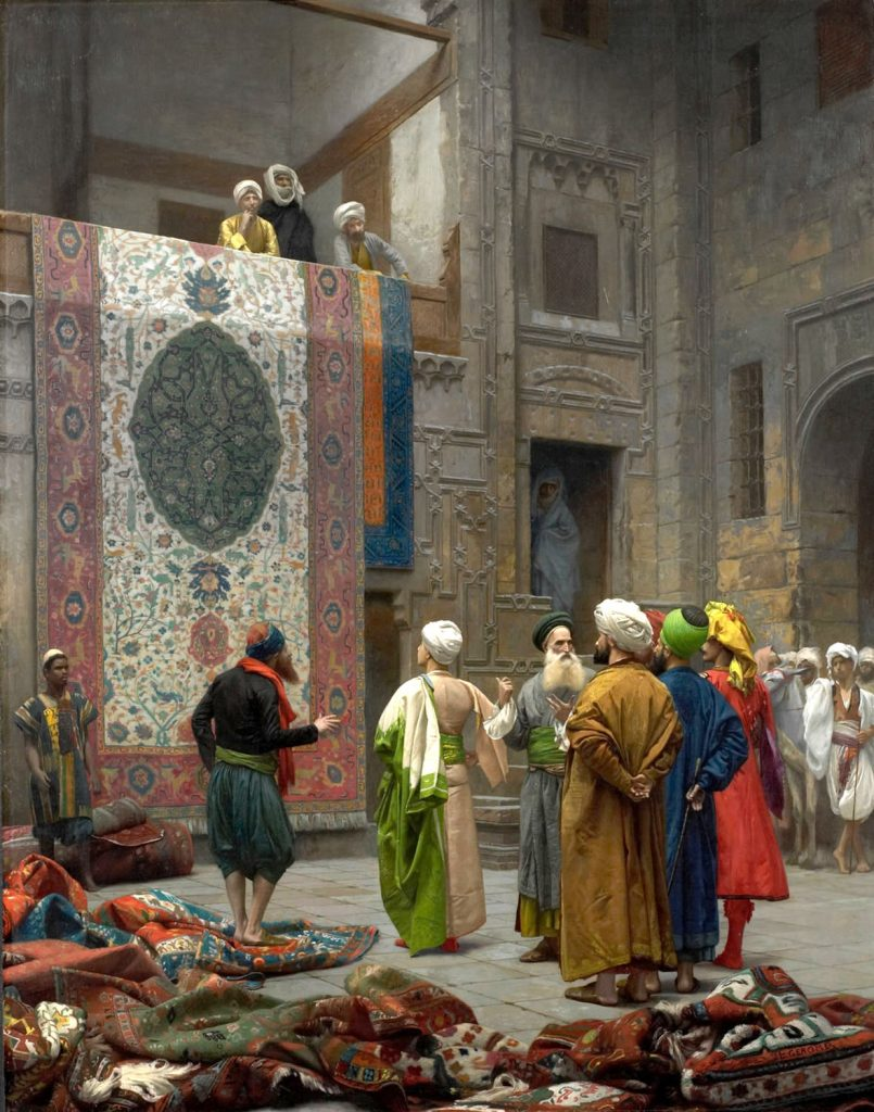 Jean-Léon Gérôme (1824-1904), Le marchand de tapis au Caire,1887, huile sur toile, Minneapolis Institute of Arts.