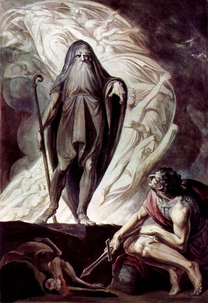 Henry Fuseli (1741–1825),Tirésias apparaît à Ulysse pendant le sacrifice, entre 1780 et 1785, aquarelle et tempera sur carton, Graphische Sammlung der Albertina (Vienne).