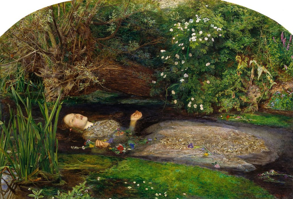 John Everett Millais (1829-1896), Ophélie, 1852, huile sur toile, Tate Britain.