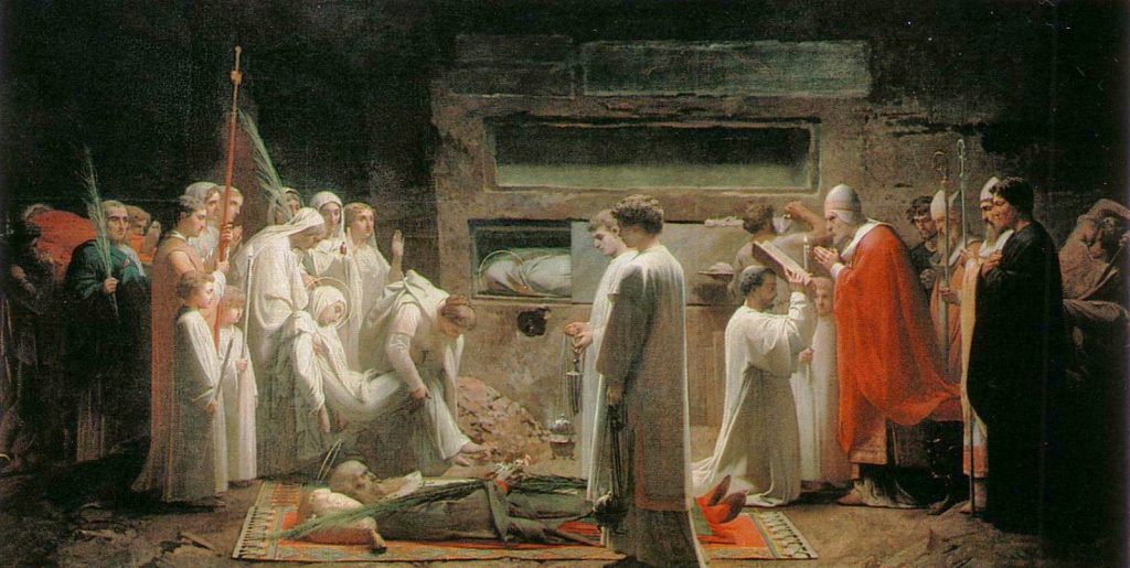 Rome Chrétienne et ses monuments - EUGENE DE LA GOURNERIE - 1867 Jules-Eug%C3%A8ne-Lenepveu-The-Martyrs-in-the-Catacombs-1855-1024x515