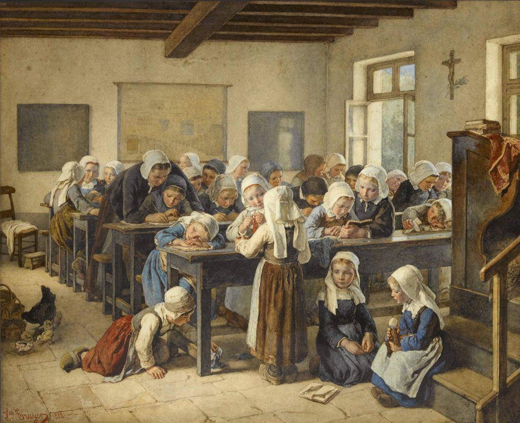 Jean-Baptiste Jules Trayer (1824–1909), Enfants bretons à l'école, 1882, aquarelle sur crayon sur papier, collection privée.