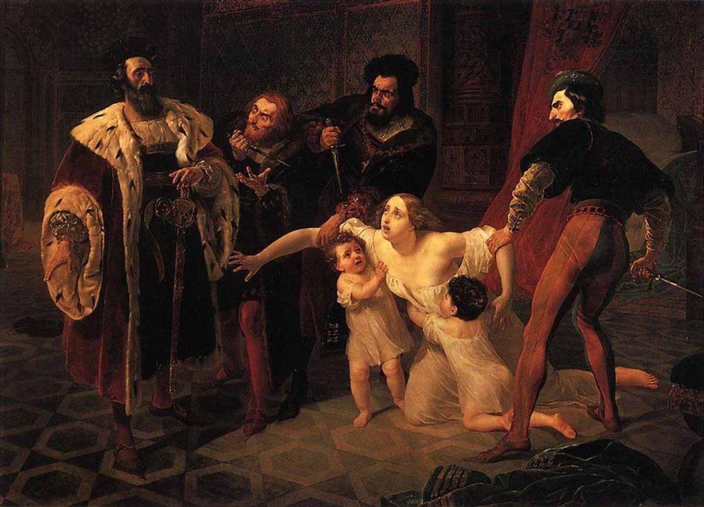 Karl Bryullov (1799–1852), La mort d'Inès de Castro, 1834, huile sur toile, Musée russe de Saint-Pétersbourg.