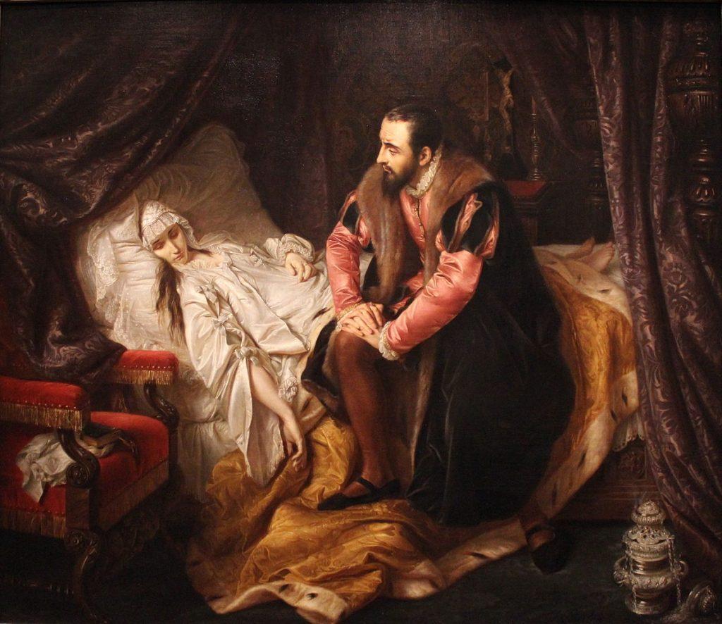La Mort de Barbara Radziwiłł, réplique de la peinture (perdue) de Józef Simmler en 1860, exposée au Musée des beaux-arts de Lyon en 2014.