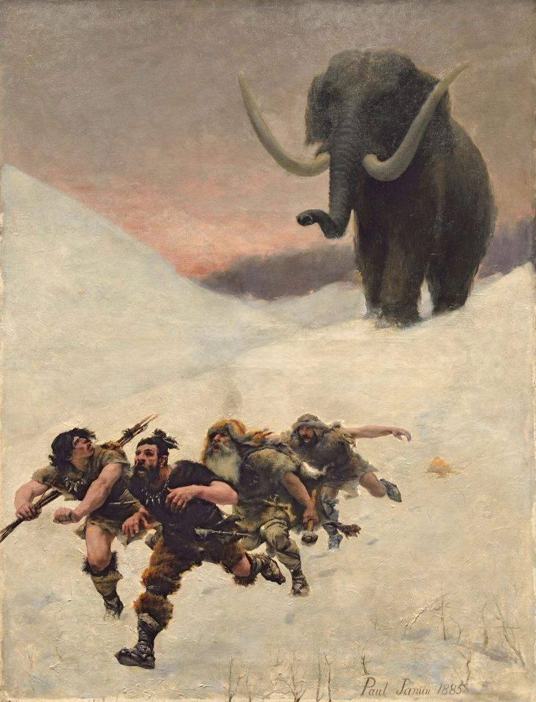 Paul Joseph Jamin (1853-1903), La fuite devant le mammouth, 1885, huile sur toile, musée de l'Homme.