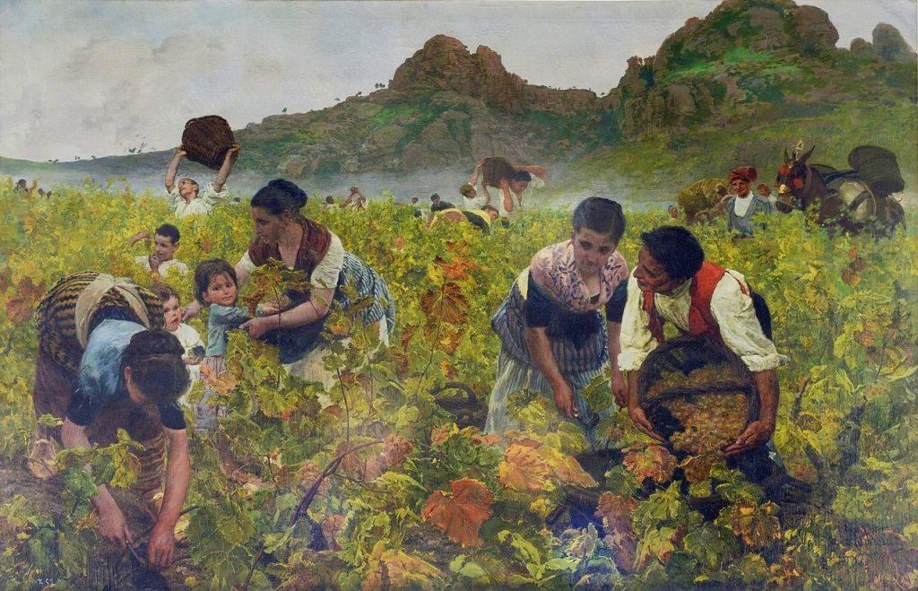 Joan Planella i Rodríguez (1849 - 1910) , La vendimia, 1881, huile sur toile, musée du Prado.