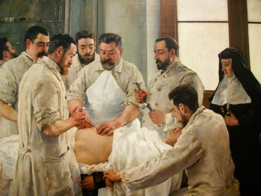 Vicente Castell (1871–1934), Laparotomie, 1898, huile sur toile,Museu de Belles Arts de Castelló.